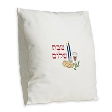 Shabbat Burlap Throw Pillow