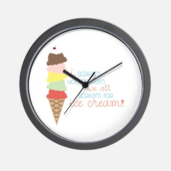 We All Scream For Ice Cream! Wall Clock