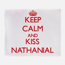 Keep Calm and Kiss Nathanial Throw Blanket