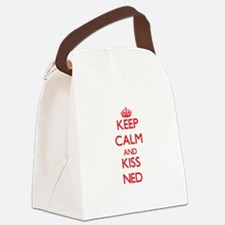 Keep Calm and Kiss Ned Canvas Lunch Bag