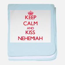 Keep Calm and Kiss Nehemiah baby blanket