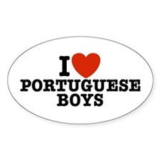 I Love Portuguese Boys Oval Decal