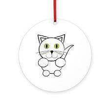 White Kitty Cat Ornament (Round)