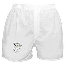White Kitty Cat Boxer Shorts