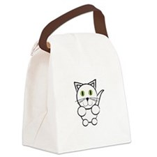 White Kitty Cat Canvas Lunch Bag
