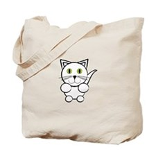 White Kitty Cat Tote Bag