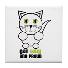 Cat Lady And Proud Tile Coaster