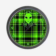 Alien Face Plaid Wall Clock