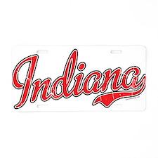 Indiana Script Font Red Aluminum License Plate