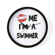 Kiss Me I'm A Swimmer Wall Clock