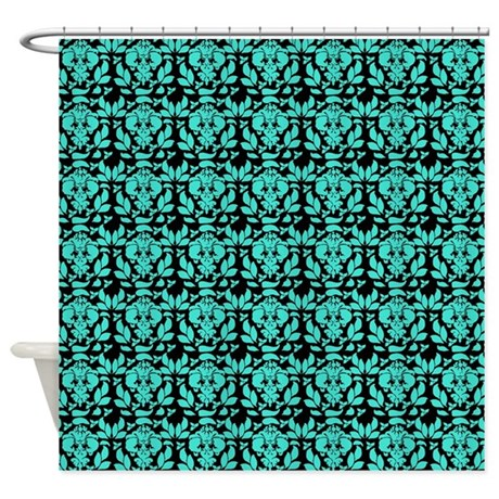 Black And Turquoise Damask Pattern Shower Curtain By Erics Designz