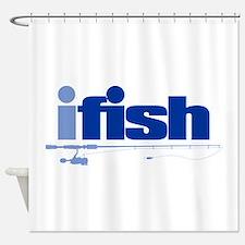 ifish (rod) Shower Curtain