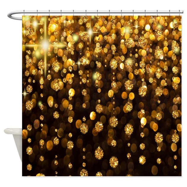 Gold Sparkles Shower Curtain By CoolBedding