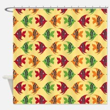 Cute Colorful Fish on Yellow Backgr Shower Curtain
