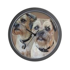 Two Border Terriers  Wall Clock