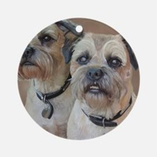 Two Border Terriers  Round Ornament