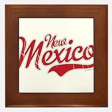 New Mexico Script Font Crimson Framed Tile