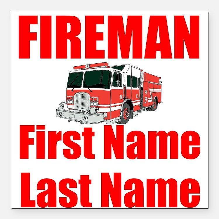 "Fireman Square Car Magnet 3"" x 3"""