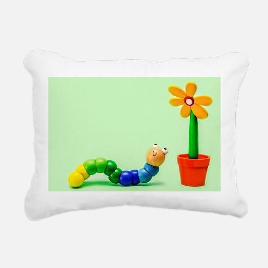 Caterpillar and Flower Rectangular Canvas Pillow