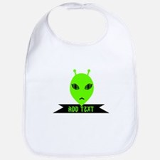 Plaid Eyed Green Alien Head Bib