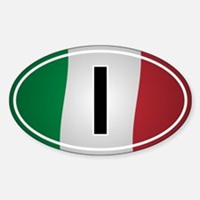Italian Oval Car Sticker - Flag Design