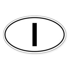Italian Oval Car Sticker - I For Italy