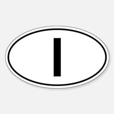 Italian Oval Car Sticker - I For Italy
