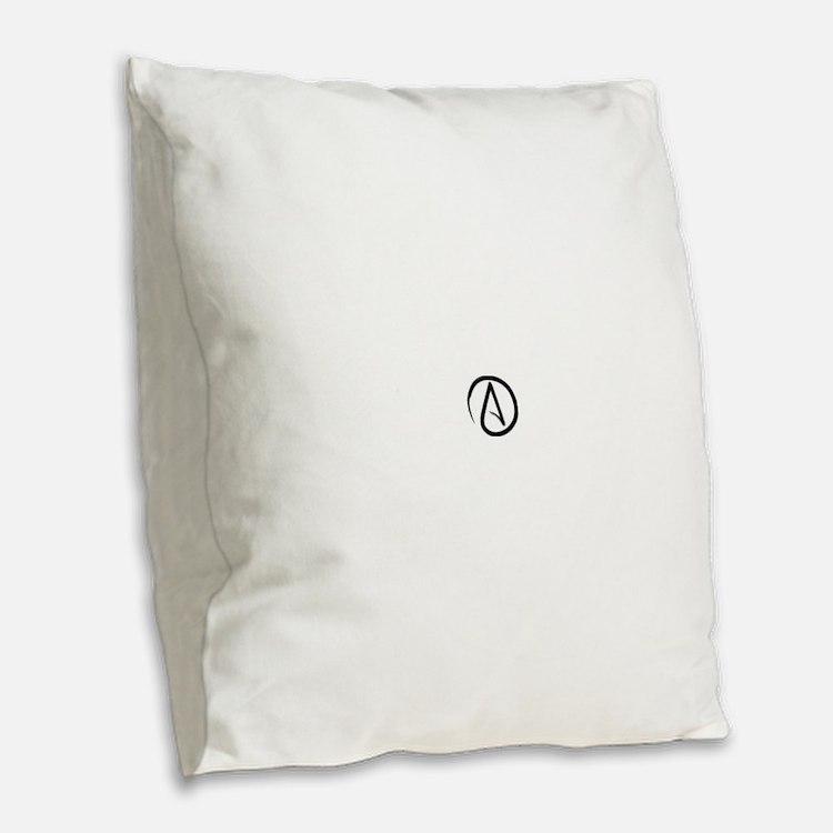 Atheist Symbol Burlap Throw Pillow