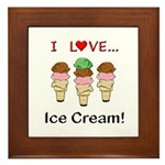 I Love Ice Cream Framed Tile