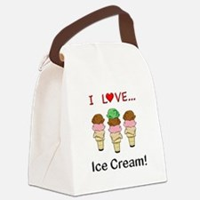 I Love Ice Cream Canvas Lunch Bag