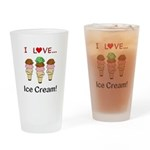 I Love Ice Cream Drinking Glass