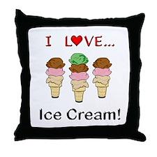 I Love Ice Cream Throw Pillow