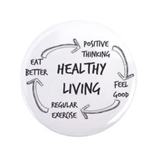 "Healthy Living 3.5"" Button"