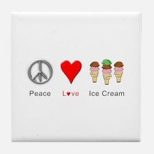 Peace Love Ice Cream Tile Coaster