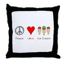 Peace Love Ice Cream Throw Pillow