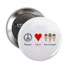 "Peace Love Ice Cream 2.25"" Button"