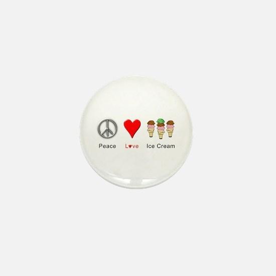 Peace Love Ice Cream Mini Button