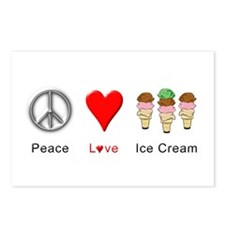 Peace Love Ice Cream Postcards (Package of 8)