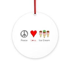Peace Love Ice Cream Ornament (Round)