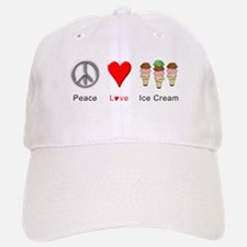 Peace Love Ice Cream Baseball Baseball Cap