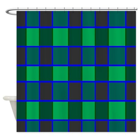Green And Gray Checks Shower Curtain By CopperCreekDesignStudio