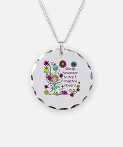 Smell the Flowers Necklace Circle Charm