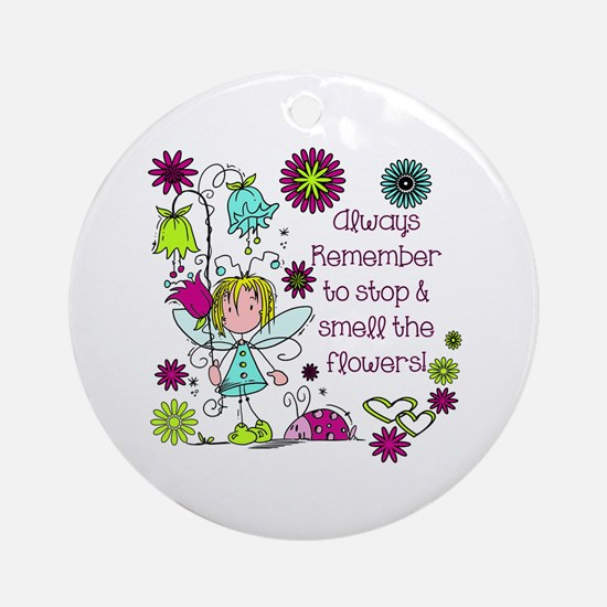 Smell the Flowers Ornament (Round)