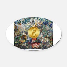 Bitcoin in Wonderland Oval Car Magnet