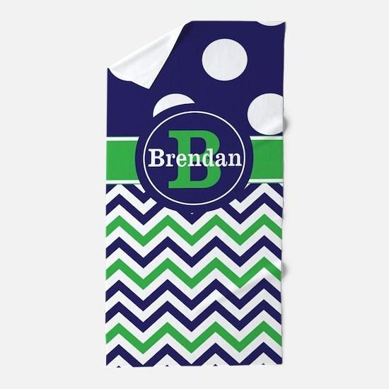 Blue Green Chevron Personalized Beach Towel