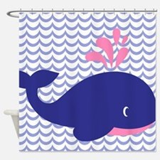 Cute Blue Whale Shower Curtain