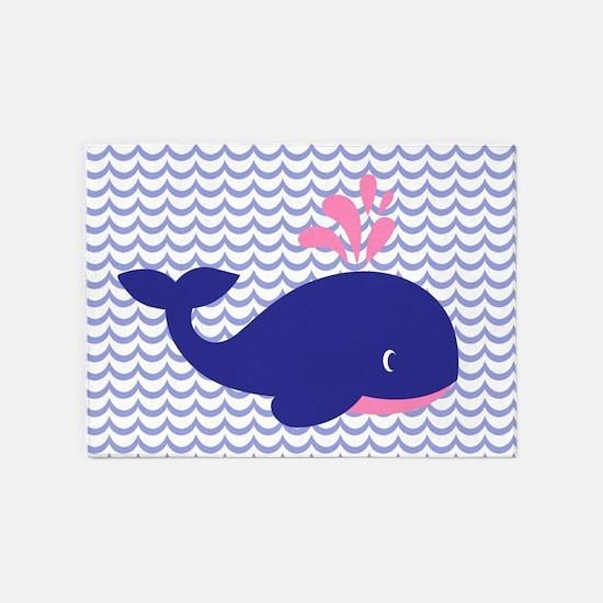 Cute Blue Whale 5'x7'Area Rug