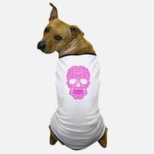 Pink Swirling Sugar Skull Dog T-Shirt