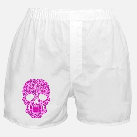 Pink Swirling Sugar Skull Boxer Shorts
