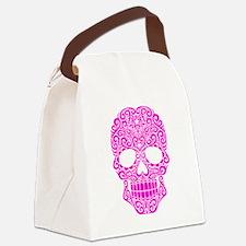 Pink Swirling Sugar Skull Canvas Lunch Bag